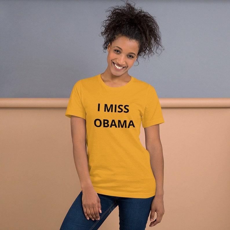 I MISS OBAMA t shirt inspired by Barron Trump T-Shirt black Mustard