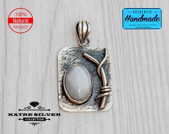 Vintage Oval Handmade Moonstone Pendant, Moonstone Jewelry, Handmade Pendant, Natural Moonstone, 925 Silver Pendant, Moonstone Gemstone