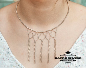 Bohemian necklace • Tribal Necklace • Ethnic Necklace • Fringe Necklace • Boho Necklace • Statement Necklaces • Gypsy Necklace •Katre Silver