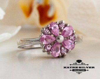 Pink Floral Ring, Pink Flower Ring, Pear Stone Ring, Floral Ring, Flower Ring, Pink Ring, Floral Jewelry, Pink Flower Jewelry, Pink Jewelry