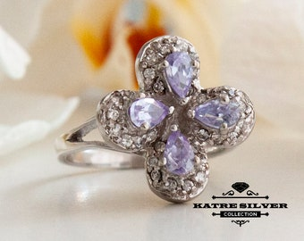 Silver Clover Ring, Clover Ring, Good Luck Ring, Four Leaf Clover, Clover Jewelry, Pear Stone Ring, Flower Ring, Floral Ring, Purple Ring