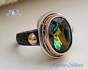 Oval Mystic Topaz Ring, Topaz Ring, Mystic Topaz, Mystic Topaz Jewelry, Handmade Ring, Statement Ring, Rainbow Ring, Solitaire Ring, Ring