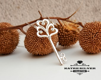 Infinity Heart Key Necklace, Custom Key Necklace, Dainty Infinity, Antique Key Necklace, Key to My Heart, Heart Key Necklace,Infinity Symbol