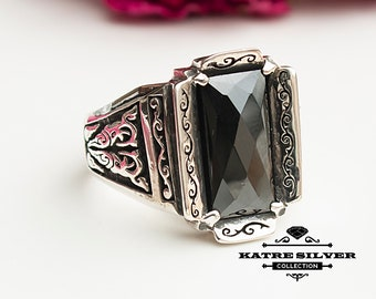 Rectangle Statement Ring, Unique Mens Ring, Turkish Summer Jewelry, Turkish Ring, Onyx Ring, Cubic Zircon, Gift for Him, Boho Jewelry