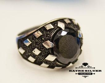 Mens Handmade Ring, Ottoman Mens Ring, Turkish Handmade Silver Men Ring, Black Onyx Ring, Gift for Him, 925k Sterling Silver Ring
