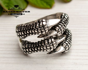 Mens Handmade Ring, Turkish Handmade Silver Men Ring, Eagle Claw Ring, Ottoman Mens Ring, Gift for Him, 925k Sterling Silver Ring