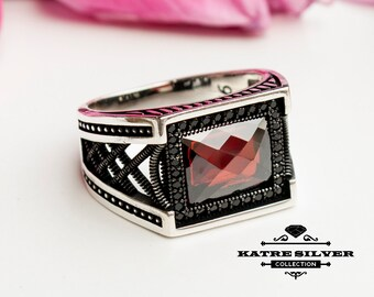 Red Statement Ring, Unique Mens Ring, Turkish Summer Jewelry,Turkish Ring, Ruby Ring,Cubic Zircon,Gift for Him, Boho Jewelry, Red Stone Ring