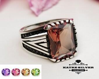 Mens Handmade Ring, Turkish Handmade Silver, Ottoman Mens Ring, Diaspore Ring, Sultanite Men Ring, Gift for Him, 925k Sterling Silver