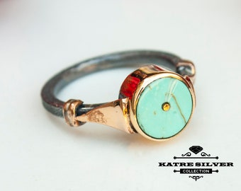 Round Turquoise Ring, Navajo Ring, Native American Ring, Southwestern Ring, Statement Ring, Boho Ring, Handmade Ring, Round Ring, Turquoise
