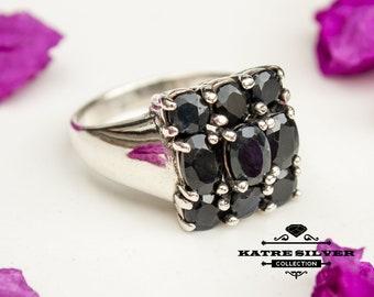 Unique Vintage Genuine Sapphire Ring, Handmade Ring, Statement Ring, Genuine Sapphire, Sapphire Silver Ring, Ladies Ring, Gift Ring,Sapphire