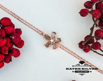 Rose Turkish Diaspore Flower Bracelet, Turkish Bracelet, Flower Bracelet, Flower Jewelry, Floral Bracelet, Silver Bracelet, Summer Bracelet