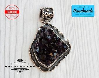 Large Raw Dark Rough Amethyst Pendant, Genuine Amethyst, Amethyst Cluster, Raw Amethyst, Amethyst Pendant, Amethyst Jewelry, Purple Amethyst