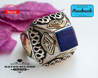 Lapis Lazuli Silver Ring, Square Handmade Turkey Snake Flower Design Perfect for Woman Birthday or Anniversary Party
