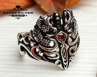Celtic Dragonsword Medieval Ring Celtic Dragon Sword Medieval Silver Ring Solid Sterling Unique Silver Jewelry Gift for Him Men Ring