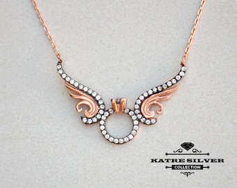 Angel Winged Solitaire Ring Necklace, Angel Wings Necklace, Angel Wing Pendant, Solitaire Pendant, Solitaire Necklace, Wing Necklace, Angel