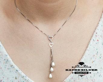 Pearl Tassel Pendant, Pearl Tassel, Long Tassel Necklace, Tassel Necklace, Pearl Necklace, Heart Necklace, Tassel Pendant, Pearl Pendant