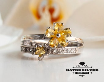 Floral Citrine Ring, Citrine Ring, Flower Ring Gift, Floral Ring, Flower Ring, Citrine Jewelry, Art Deco Ring, Yellow Stone Ring,Unique Ring