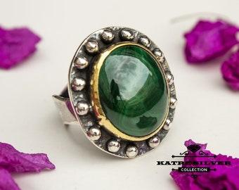 Unique Vintage Malachite Ring, Handmade Ring, Statement Ring, Malachite Ring, Natural Malachite, Green Stone Ring, Green Ring, Gift Ring