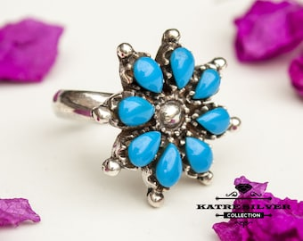 Blue Flower Turquoise Ring, Navajo Ring, Native American Ring, Southwestern Ring, Vintage Flower Ring,Silver Flower Ring,Blue Turquoise Ring