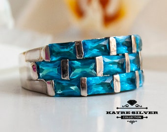 Blue Baguette Ring, Baguette Cut Ring, Swiss Blue, Baguette Ring, Blue Stone Ring, Blue Ring, 925 Silver Ring, Ring for Her, Unique Ring