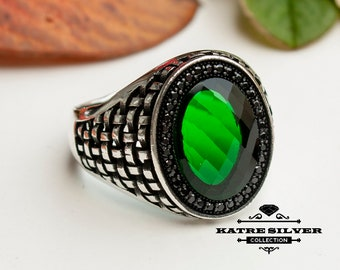 Green Statement Ring Unique Mens Ring Celtic Handcrafted Silver Rings Massive Ring Unique Mens Ring Green Silver Ring Turkish Summer Jewelry