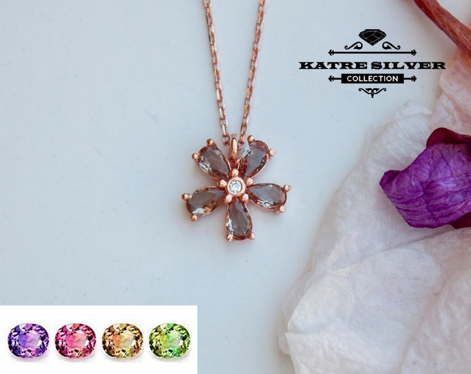 Featured listing image: Sultanite Diaspore Flower Necklace 925 Sterling Silver Rose Gold Plated Color Change Sultanite Necklace Turkish Diaspore Flower Pendant