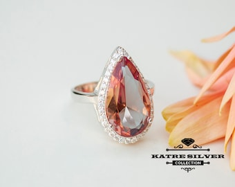 Color Change Diaspore Teardrop Ring, Diaspore Ring, Color Change Ring, Turkish ring, Silver Women Ring, 925 Silver Ring, Statement Ring