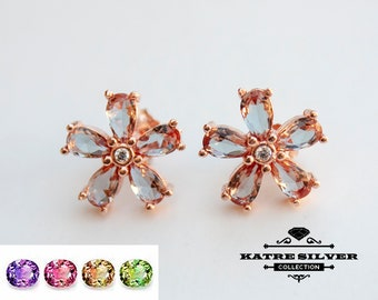 Color Change Zultanit Earring, Floral Earrings, Floral Jewelry, Vintage Floral, Flower Earring, One of a Kind, Earring for Women, Statement