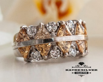 Champagne Cz Ring, Champagne Ring, Cubic Zirconia Ring, Statement Ring, Cz Ring, Anniversary Ring, Champagne Jewelry, Art Deco Ring, Unique