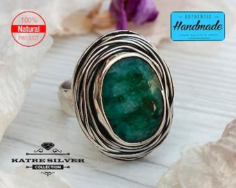 Unique Handmade Raw Emerald Ring, Wirewrap Ring, May Birthstone Ring, Natural Emerald, Emerald Silver Ring, Green Emerald Ring, Green Ring
