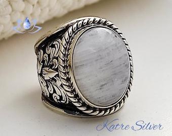 Moonstone Mens Ring, Mens Handmade Ring, Turkish Handmade Silver Men Ring, Ottoman Mens Ring, Men Ring, Gift for Him, 925k Sterling Silver