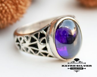Turkish Handmade Silver Men Ring, Mens Handmade Ring, Purple Amethyst Ring, Ottoman Mens Ring, Gift for Him, 925k Sterling Silver Ring