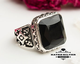 Turkish Statement Ring, Unique Mens Ring, Turkish Summer Jewelry, Turkish Ring, Onyx Ring, Cubic Zircon, Gift for Him, Boho Jewelry