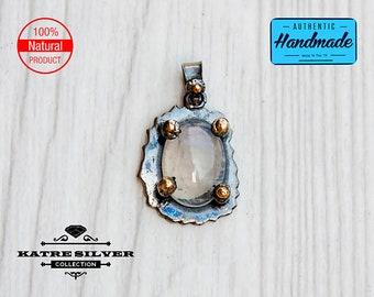 Raw Dainty Vintage Moonstone Pendant, Oval Moonstone, Handmade Moonstone, Moonstone Pendant, Moonstone Jewelry, Handmade Pendant, Natural