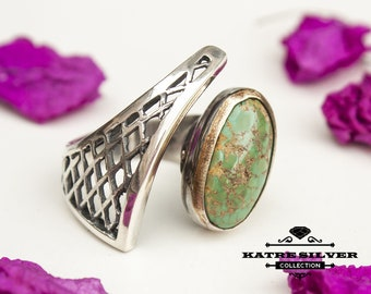 Unique Vintage Turquoise Ring, Handmade Ring, Statement Ring, Green Turquoise Ring, Natural Turquoise,Adjustable Rings,Ladies Ring,Gift Ring