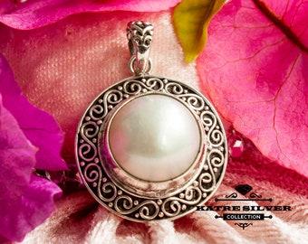 Bali Pearl Pendant, Bali Silver Pendant, Decorative Pendant, Bali Silver, Mother of Pearl, Pearl Pendant, Pearl Jewelry, Handmade Pendant