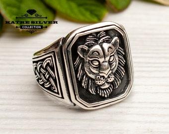 Lion Ring Silver, Lion Ring Men, Lion Ring Sterling, Lion Ring Vintage, Lion Ring, Lion Jewelry, Animal Ring,Lion Head Ring,Silver Lion Ring