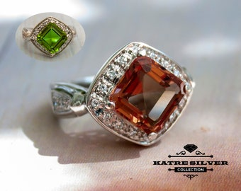 Square Zultanit Ring, Diaspore Ring, Changing Color Ring, Turkish Ring, Square Stone Ring, Solitaire Ring, Art Deco Style, Art Deco Jewelry