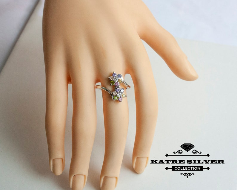 Ring Flower Ring Dual Flower Ring Dual Ring Ring for Women Unique Silver Ring Gift Ring Floral Ring Multicolor Ring Birthstone Ring