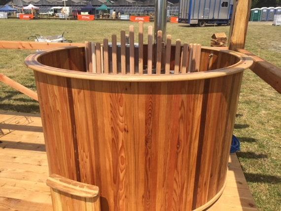 wood fired cedar hot tub