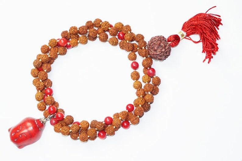 Healing Beads Jewelry Coral Chakra Rudraksha Yoga Meditation Japamala with Buddha Pendant