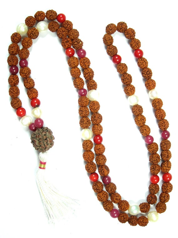 VEDAMALAS Chakra Prayer Beads Rudraksha Mala Healing Necklace Carnelian Gemstone Spiritual Jewelry
