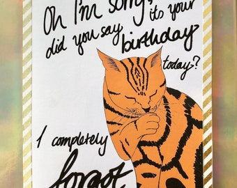 Customisable Cat Birthday Card Orange Lover Cute Minimal Funny