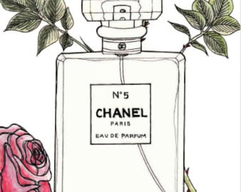 Fashion wall art, Chanel perfume watercolour print