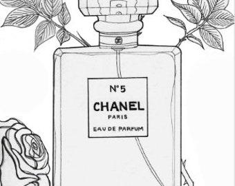 Floral art print, Chanel perfume watercolour print, black and white print