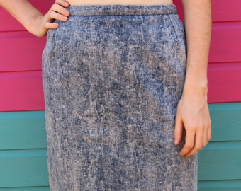 5cb152ebf67 Vintage 90 s Blue White Acid Washed High Waist Pencil A Line Denim Midi  Work Summer Skirt Size 10