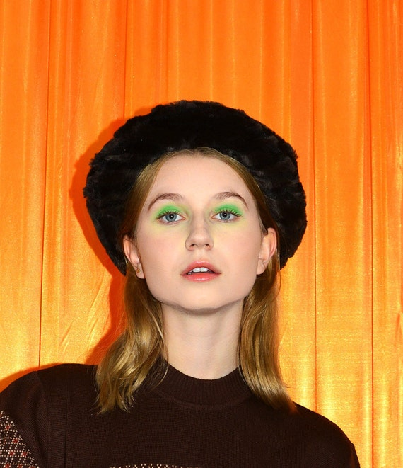 Vintage 80s Faux Fur Bucket Hat Dark Brown Black A