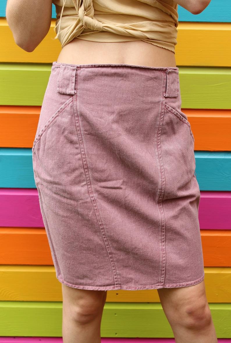 bcec86dbfa Vintage 90s Pastel Dusty Rose Pink Denim Mini A Line Summer   Etsy