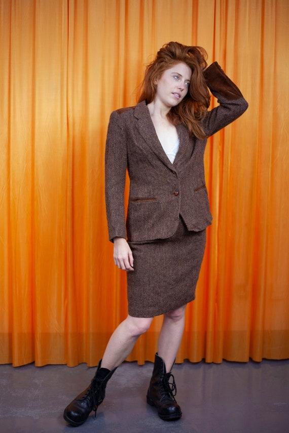 Vintage 80s Skirt Suit Brown Tweed Corduroy Blazer