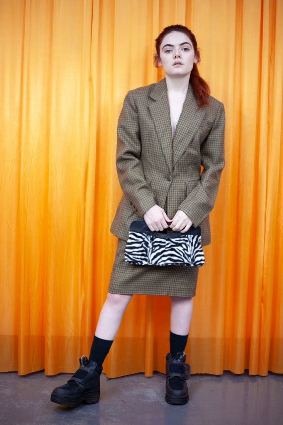Vintage 80s Skirt Suit Green Dogtooth Blazer Penci